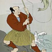 Japanese Fisherman Fishing Catching Trout Fish Art Print by Aloysius Patrimonio