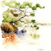 Japanese Garden Pond Sketch Art Print