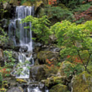 Japanese Garden Waterfall Print by Sandra Bronstein