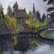 Japanese Garden With Bridge Art Print