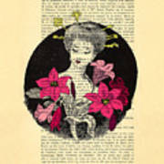 Japanese Lady With Cherry Blossoms Art Print