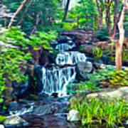 Japanese Waterfall Garden Art Print