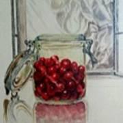 Jar Of Cherries Art Print