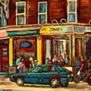 Java U Coffee Shop Montreal Painting By Streetscene Specialist Artist Carole Spandau Art Print by Carole Spandau