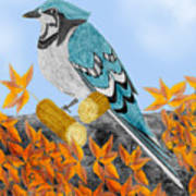 Jay With Corn And Leaves Art Print