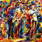 Jazz Band - Palette Knife Oil Painting On Canvas By Leonid Afremov Art Print