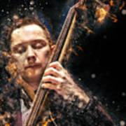 Jazz Bass Player Art Print