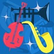 Jazz Composition With Bass, Saxophone And Trumpet Art Print