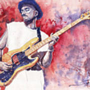 Jazz Guitarist Marcus Miller Red Art Print