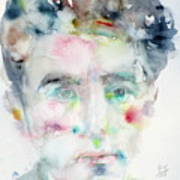 Jean Cocteau - Watercolor Portrait.2 Art Print