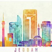 Jeddah Landmarks Watercolor Poster Art Print