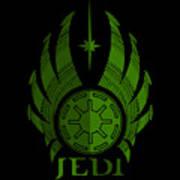 Jedi Symbol - Star Wars Art, Green Art Print