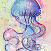 Jelly Fish Watercolor Art Print