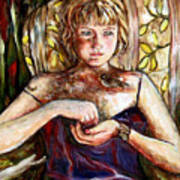 Girl And Bird Painting Art Print