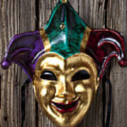 Jester Mask Hanging On Wooden Wall Art Print