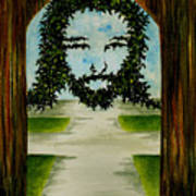 Jesus Face In Vines Art Print