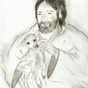 Jesus Holding Lamb Print by Sonya Chalmers