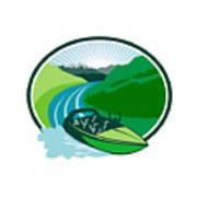 Jetboat River Canyon Mountain Oval Retro Art Print