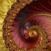 Jewel Gold  Fractal Spiral  Art Print