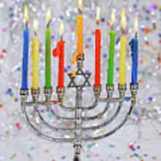 Jewish Holiday Hannukah Symbols - Menorah Art Print