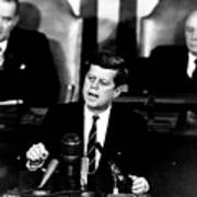 Jfk Announces Moon Landing Mission Art Print by War Is Hell Store