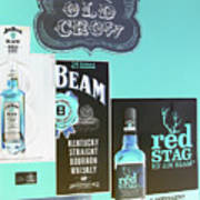 Jim Beam's Old Crow And Red Stag Signs - Color Invert Art Print