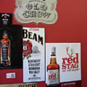 Jim Beam's Old Crow And Red Stag Signs Art Print