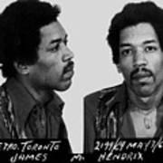 Jimi Hendrix Mug Shot Horizontal Art Print