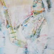 Jimi Hendrix Playing The Guitar.9 - Watercolor Portrait Art Print