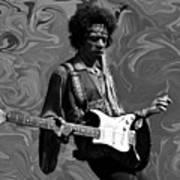 Jimi Hendrix Purple Haze B W Art Print