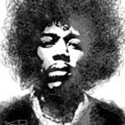 Jimi Hendrix sketch pen portrait Art Print