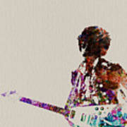 Jimmy Hendrix With Guitar Art Print