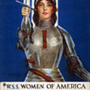 Joan Of Arc Saved France. Women Of America Save Your Country. Buy War Savings Stamps Art Print