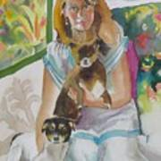 Joann And Her Pets Art Print