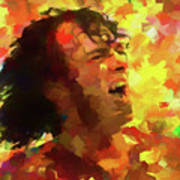 Joe Cocker Colorful Palette Knife Art Print