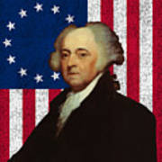 John Adams And The American Flag Art Print