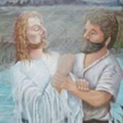 John Baptizing Jesus Art Print by Janna Columbus