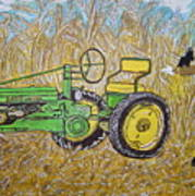 John Deere Tractor And The Scarecrow Art Print
