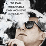 John F Kennedy Cigar And Sunglasses 3 And Quote Art Print