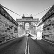 John Roebling Bridge Entrance - Cincinnati Ohio Black And White Art Print