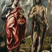 John The Baptist And Saint John The Evangelist Art Print