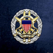 Joint Chiefs Of Staff - J C S Identification Badge On Blue Velvet Art Print