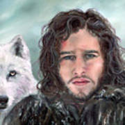 Jon Snow And Ghost Art Print