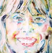 Joni Mitchell - Watercolor Portrait Art Print