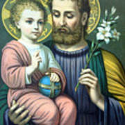 Joseph And Baby Jesus Art Print