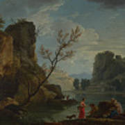 Joseph Vernet   A River With Fishermen Art Print