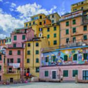Joy In Colorful House In Piazza Di Riomaggiore, Cinque Terre, Italy Art Print
