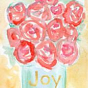 Joyful Roses- Art by Linda Woods Art Print