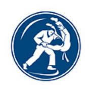 Judo Combatants Throw Circle Icon Art Print