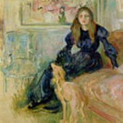 Julie Manet And Her Greyhound Laerte Print by Berthe Morisot